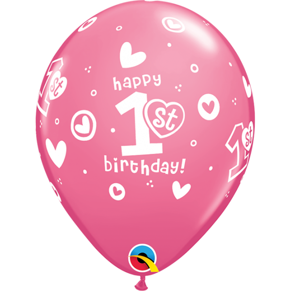 "11"" Girls 1st Birthday Circle & Hearts Balloon"