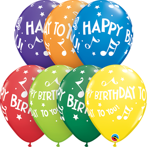 "11"" Happy Birthday To You Musical Notes Balloon"