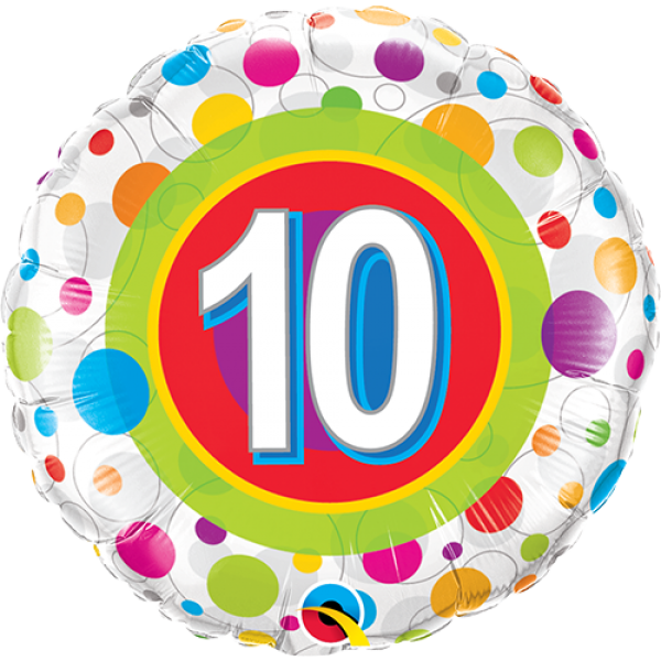 "18"" 10th Birthday Colourful Dots Balloon"