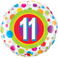 "18"" 11th Birthday Colourful Dots Balloon"