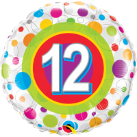"18"" 12th Birthday Colourful Dots Balloon"
