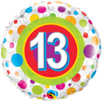 "18"" 13th Birthday Colourful Dots Balloon"