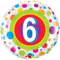 "18"" 6th Birthday Colourful Dots Balloon"