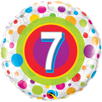 "18"" 7th Birthday Colourful Dots Balloon"