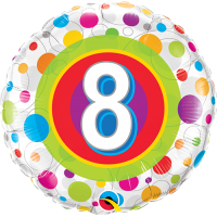 "18"" 8th Birthday Colourful Dots Balloon"