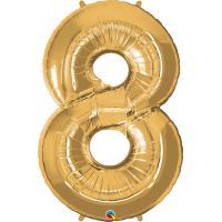 "40"" Gold Number Eight Balloon & Weight"