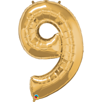 "40"" Gold Number Nine Balloon & Weight"