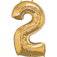 """40"""" Gold Number Two Balloon & Weight"""