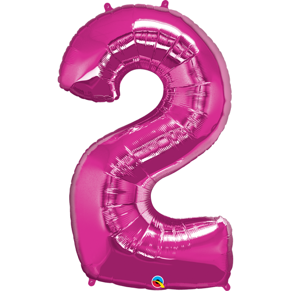 """40"""" Magenta Number Two Balloon & Weight"""