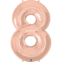 "40"" Rose Gold Number Eight Balloon & Weight"