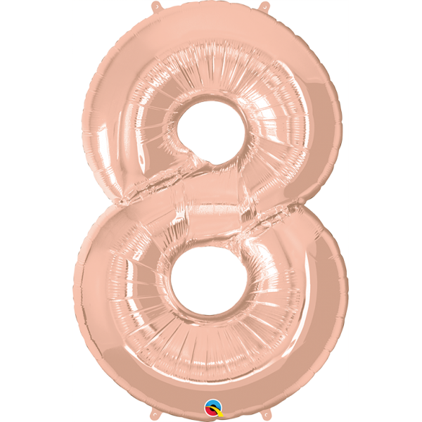 """40"""" Rose Gold Number Eight Balloon & Weight"""