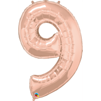 "40"" Rose Gold Number Nine Balloon & Weight"