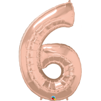 "40"" Rose Gold Number Six Balloon & Weight"