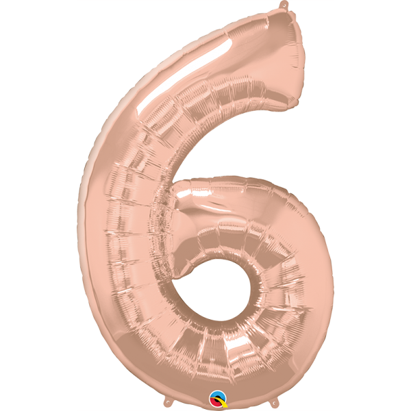 """40"""" Rose Gold Number Six Balloon & Weight"""