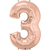 "40"" Rose Gold Number Three Balloon & Weight"