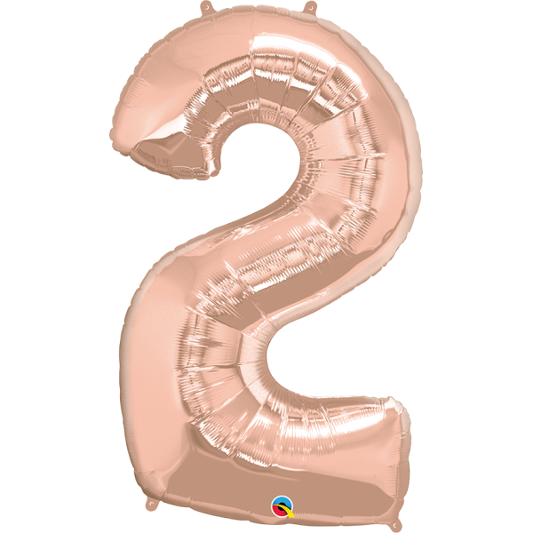 """40"""" Rose Gold Number Two Balloon & Weight"""