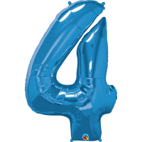 "40"" Sapphire Blue Number Four Balloon & Weight"