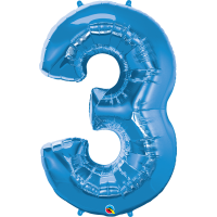 "40"" Sapphire Blue Number Three Balloon & Weight"