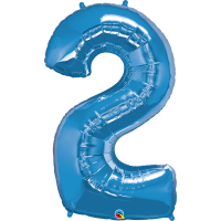 """40"""" Sapphire Blue Number Two Balloon & Weight"""