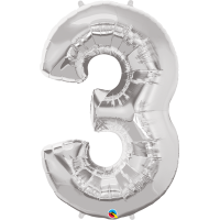 "40"" Silver Number Three Balloon & Weight"