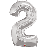 "40"" Silver Number Two Balloon & Weight"