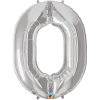 "40"" Silver Number Zero Balloon & Weight"