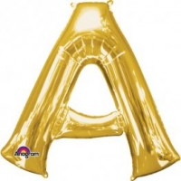 "40"" Gold Letter A Balloon & Weight"