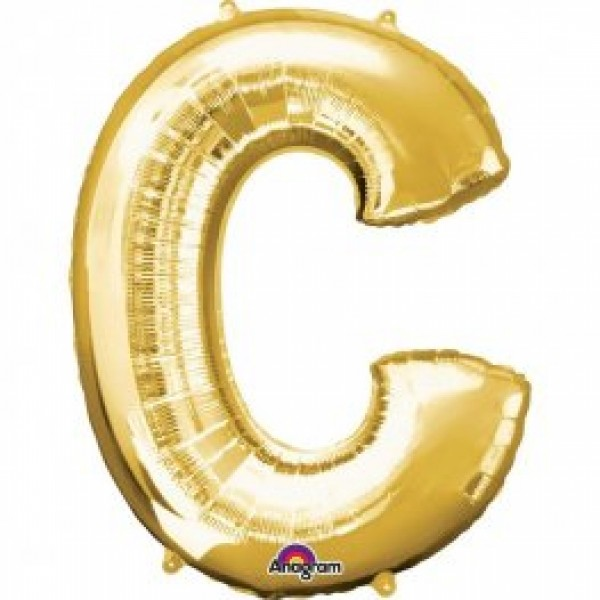 "40"" Gold Letter C Balloon & Weight"