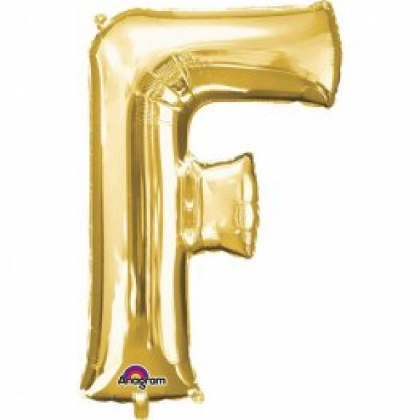 """40"""" Gold Letter F Balloon & Weight"""