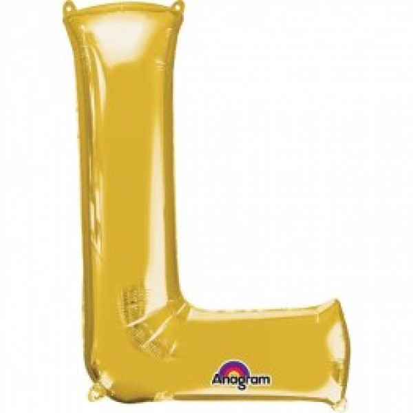"40"" Gold Letter L Balloon & Weight"