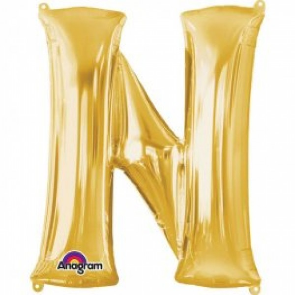 """40"""" Gold Letter N Balloon & Weight"""