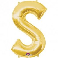 """40"""" Gold Letter S Balloon & Weight"""