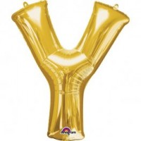 """40"""" Gold Letter Y Balloon & Weight"""