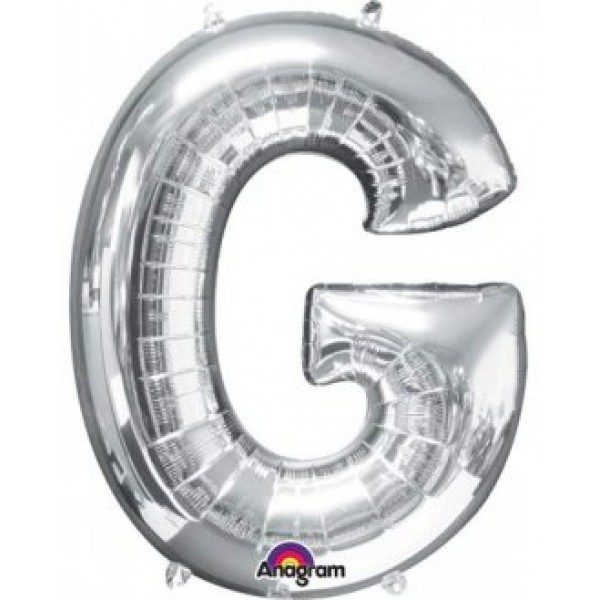 """40"""" Silver Letter G Balloon & Weight"""