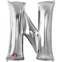 """40"""" Silver Letter N Balloon & Weight"""
