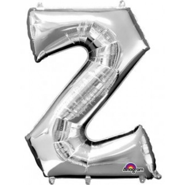 """40"""" Silver Letter Z Balloon & Weight"""